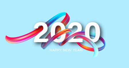 Happy New Year 2020. Lettering greeting inscription. Vector illustration EPS10 版權商用圖片 - 126088855