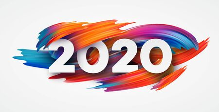 Szczęśliwego Nowego Roku 2020. Napis z pozdrowieniami. Ilustracja wektorowa eps10