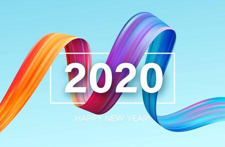 Feliz año nuevo 2020. Inscripción de saludo de letras. Ilustración vectorial