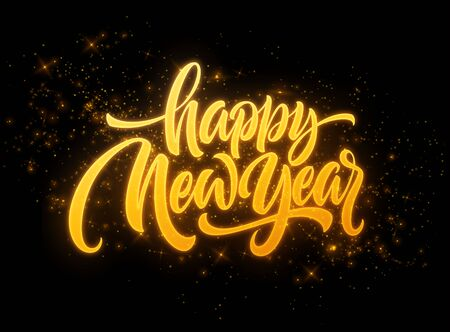 Happy New Year 2020. Lettering greeting inscription. Vector illustration
