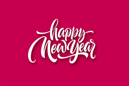 Happy New Year 2020. Lettering greeting inscription. Vector illustration 스톡 콘텐츠 - 126107892