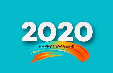 2020年明け明けおめでとう。レタリング挨拶の碑文。ベクトル図 EPS10