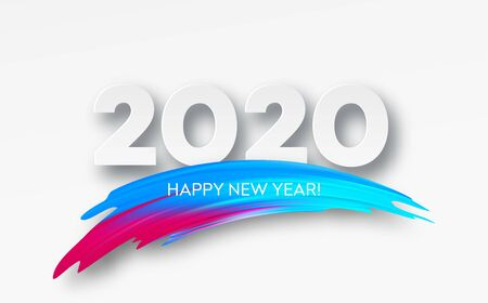 Happy New Year 2020. Lettering greeting inscription. Vector illustration EPS10 版權商用圖片 - 126102648