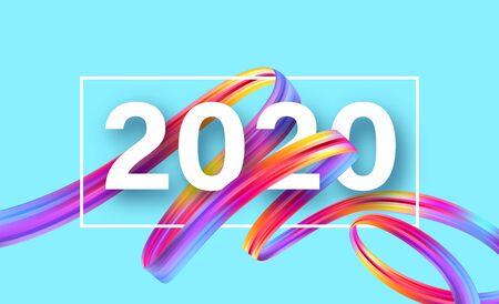 Frohes neues Jahr 2020. Grußaufschrift beschriften. Vektorillustration EPS10