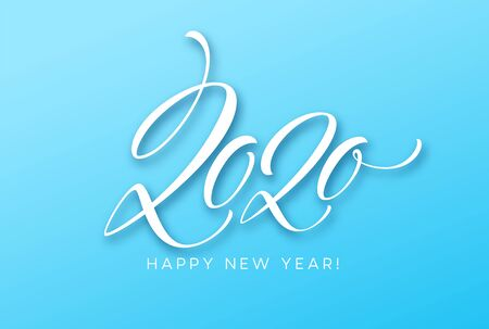 Happy New Year 2020. Lettering greeting inscription. Vector illustration EPS10
