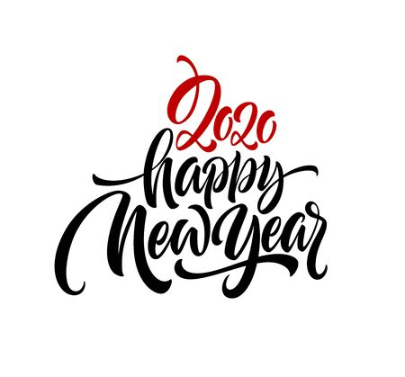 Happy New Year 2020. Lettering greeting inscription.