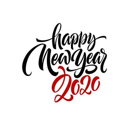 Frohes neues Jahr 2020. Grußaufschrift beschriften. Vektorillustration EPS10 Vektorgrafik