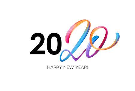 Frohes neues Jahr 2020. Grußaufschrift beschriften. Vektor-Illustration