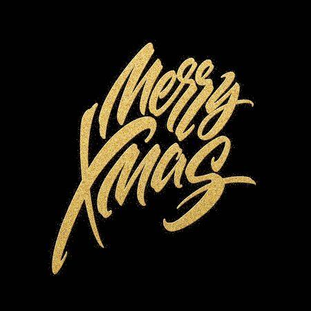 Merry Christmas gold glitter lettering design. Christmas greeting card, poster, banner. Vector illustration EPS10