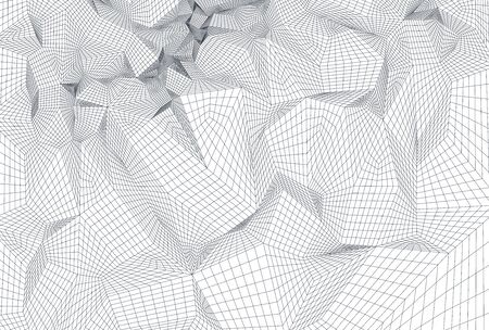 Abstract geometric composition with decorative triangles grid.