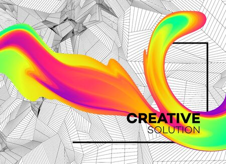Trendy abstract background with dynamic particles and color flow shape. Modern science or technology element. Vector illustration EPS10