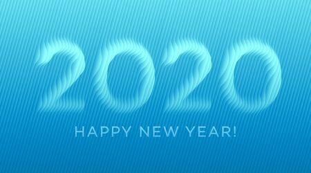 Paper cut 2020 line text for celebration design. Ilustrace