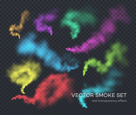 Vector smoke. A set of different color realistic insulated transparent effects of smoke. The real effect of transparency. EPS10 Ilustração