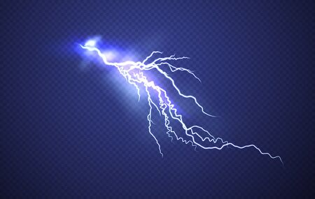 Realistic Lightning effect isolated on clear dark blue background. Vector illustration EPS10
