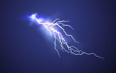 Realistischer Blitzeffekt lokalisiert auf klarem dunkelblauem Hintergrund. Vektorillustration EPS10