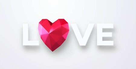 Valentines Day festive background with realistic red ruby low poly heart. Lettering Love paper cut on a white background. Vector illustration EPS 10