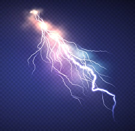 Realistic Lightning effect isolated on clear dark blue background. Vector illustration EPS10 Vector Illustration