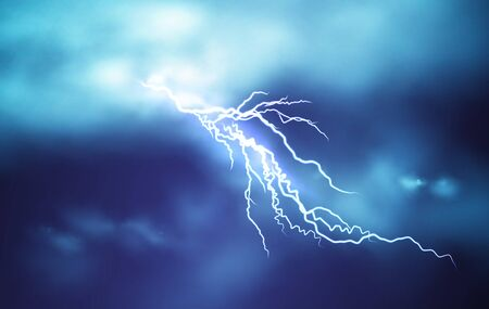 Realistic Lightning effect isolated on a dark blue cloudy sky background. Vector illustration EPS10
