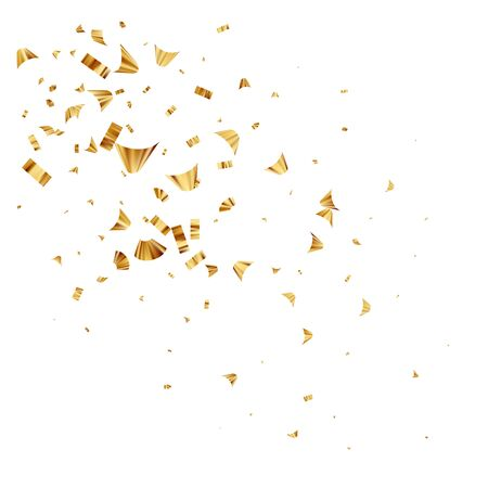 Gold foil confetti isolated on a white background. Festive background. Vector illustration EPS10 Ilustração