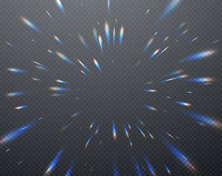 Reflets transparents holographiques flare isolés sur fond sombre transparent. Illustration vectorielle Eps10