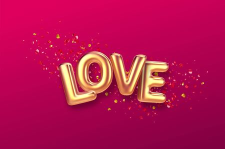 Balloons inscription Love on the background of the color gold glitter confetti. Vector illustration