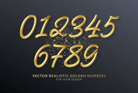 Realistic 3d lettering numbers isolated on black background. Golden numbers set. Decoration elements for banner, cover, birthday or anniversary party invitation design. Vector illustration EPS10 Vector Illustration