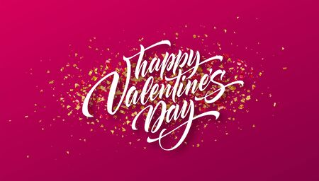 Calligraphic lettering Happy Valentines day on a background of golden confetti. Vector illustration EPS10
