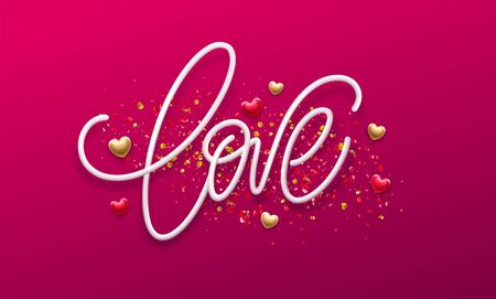 Calligraphic lettering Love. Happy Valentines day concept on a background of golden confetti. Vector illustration EPS10