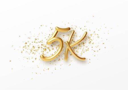 5k followers celebration design with Golden numbers, sparkling confetti and glitters. Realistic 3d festive illustration. Party event decoration. Vector Illustration