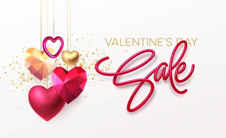 Valentines Day Sale background with realistic metallic gold and red ruby low poly heart. Red Golden Lettering Sale on white background. Vector illustration. Vector illustration EPS10