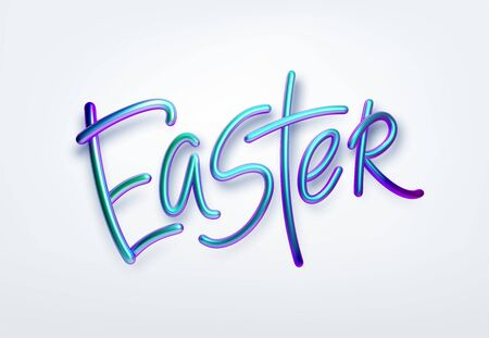 Golden metallic shiny typography Happy Easter. 3D realistic lettering for the design of flyers, brochures, leaflets, posters and cards Ilustracja