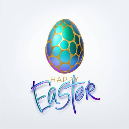 Modern trendy Golden metallic shiny typography Happy Easter on a background of easter eggs. 3D realistic lettering for the design of flyers, leaflets, posters and cards. Vector illustration