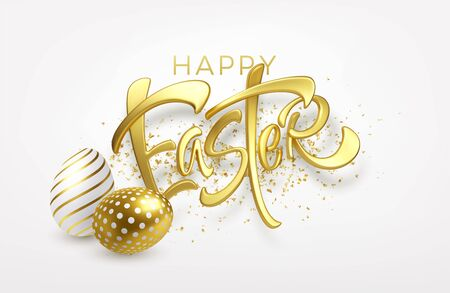 Modern trendy Golden metallic shiny typography Happy Easter on a background of easter eggs. 3D realistic lettering for the design of flyers, brochures, leaflets, posters and cards Vector illustration