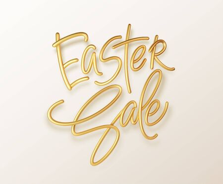 Golden metallic shiny typography Easter Sale. 3D realistic lettering for the design of flyers, brochures, leaflets, posters and cards