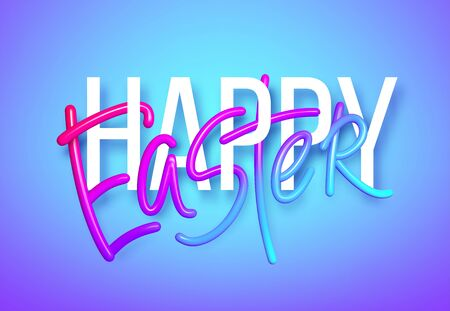 3D realistic rainbow holiday Happy Easter lettering background . Vector illustration