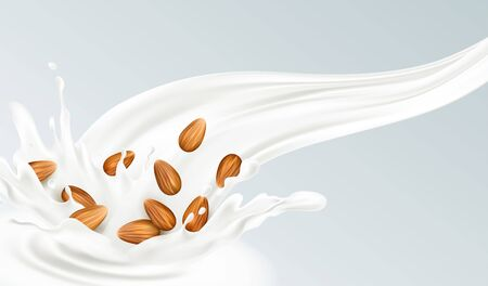 Realistic splash of almond milk on a gray background. Healthy eating concept. Vector illustration Vecteurs