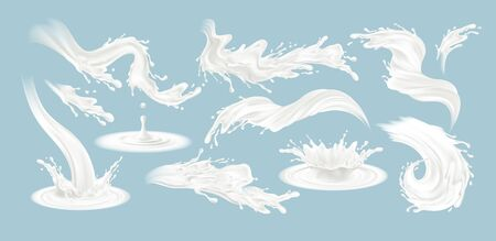 Set of realistic splashes of milk isolated on a blue background. White fluid. Vector illustration