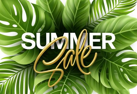 Golden metallic summer sale lettering on a bright from green tropical leaves of plants. Vector Illustration