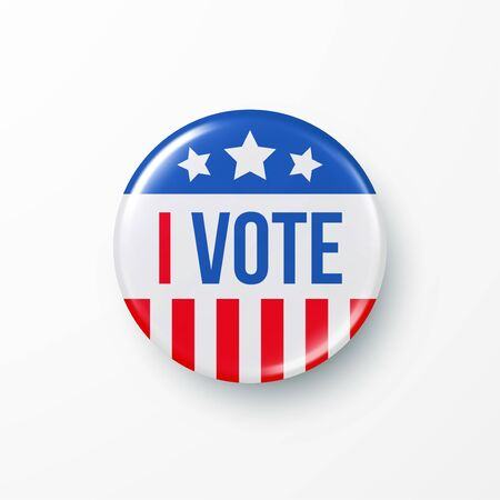 I Vote 2020 United States of America Presidential Election Button Design. Vector illustration