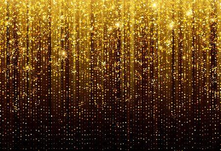 Black Background with falling golden sparkles glitter. Background for decoration festive design. Vector illustration EPS10