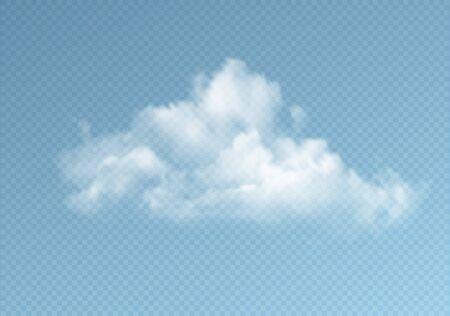 Transparent clouds isolated on blue background. Real transparency effect. Vector illustration Ilustração