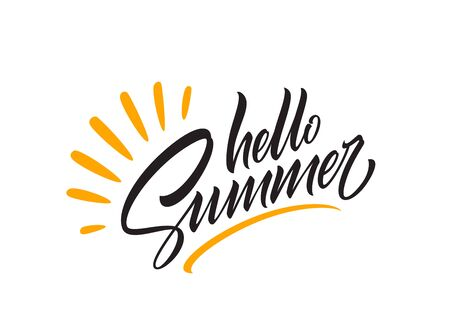 Hello summer handwriting lettering isolated on white background. Vector illustration Vettoriali
