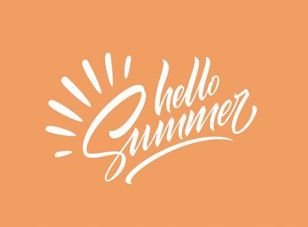 Hello summer handwriting lettering isolated on orange background. Vector illustration