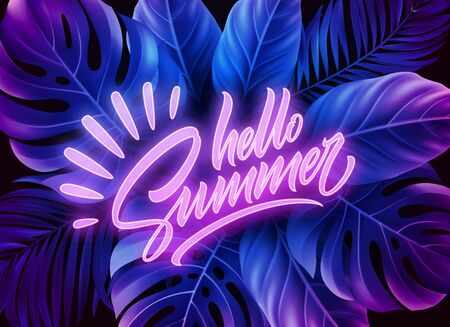 Hello Summer neon lettering on a background of exotic tropical palm leaves. Vector illustration Vettoriali