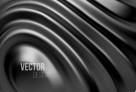 Black shiny liquid waves 3d realistic background. Vector illustration