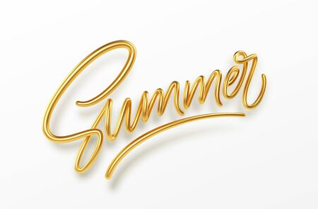 3D Realistic Golden Shiny Metallic Summer Handwriting Lettering Isolated on White Background. Vector illustration