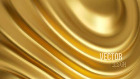 Golden shiny liquid waves 3d realistic background. Vector illustration EPS10