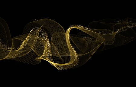 Gold shiny wavy with glitter sparkles background. Golden dust wave. Vector illustration EPS10