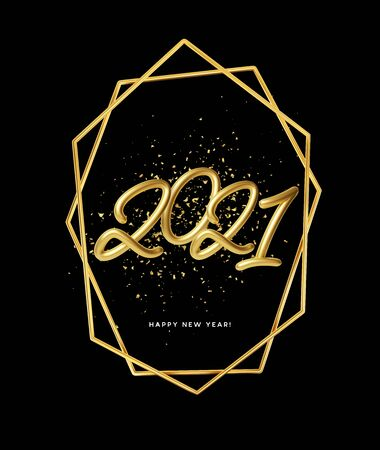 2021 realistic golden metallic inscription on a black background with gold glitter sparkles. Vector illustration EPS10