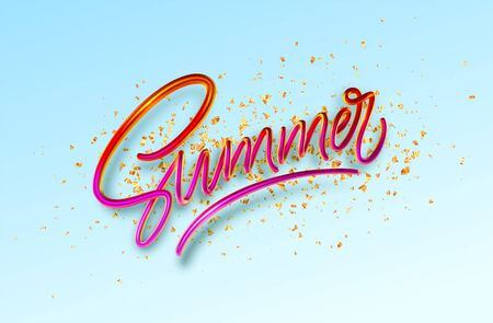 3D Realistic Red Golden Shiny Metallic Summer Handwriting Lettering blue Background with gold glitter confetti. Vector illustration EPS10 Vettoriali